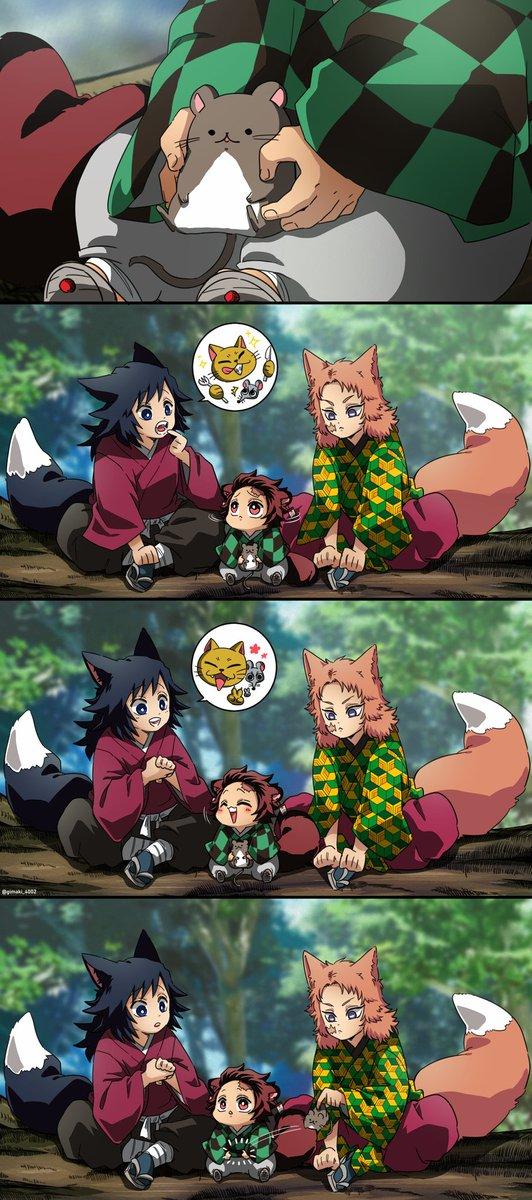狩り修行の時に出会った雪鼠くんと仲良くなった子狸炭治郎と小狐水一門兄弟子達((🎀#鬼滅の刃
