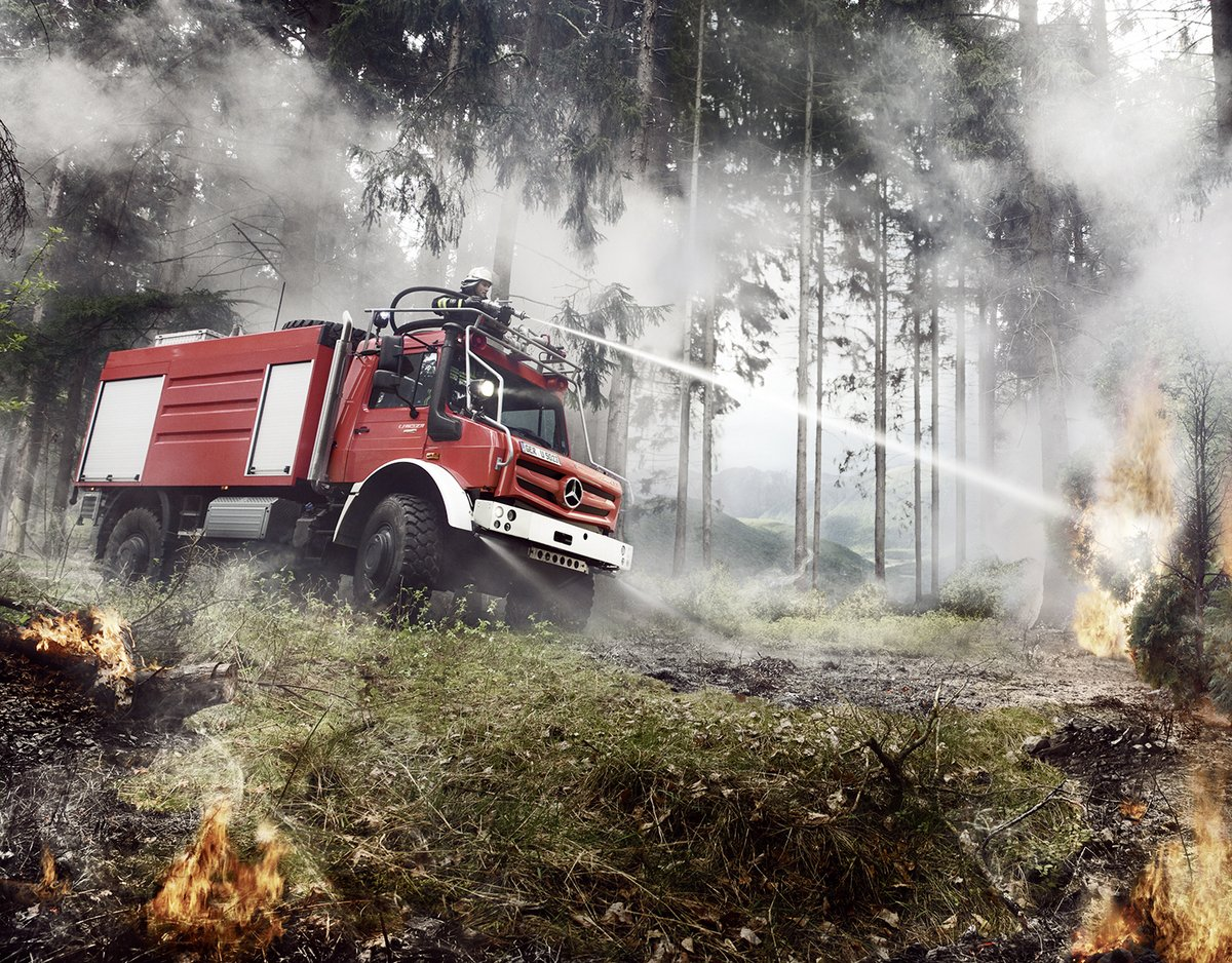 Our #MercedesBenz #Unimog is an indispensable helper for fire and rescue services, even in remote areas.   http://mb4.me/mbunimog  @DaimlerTruckBus #firetruck #firefighter #firedepartment