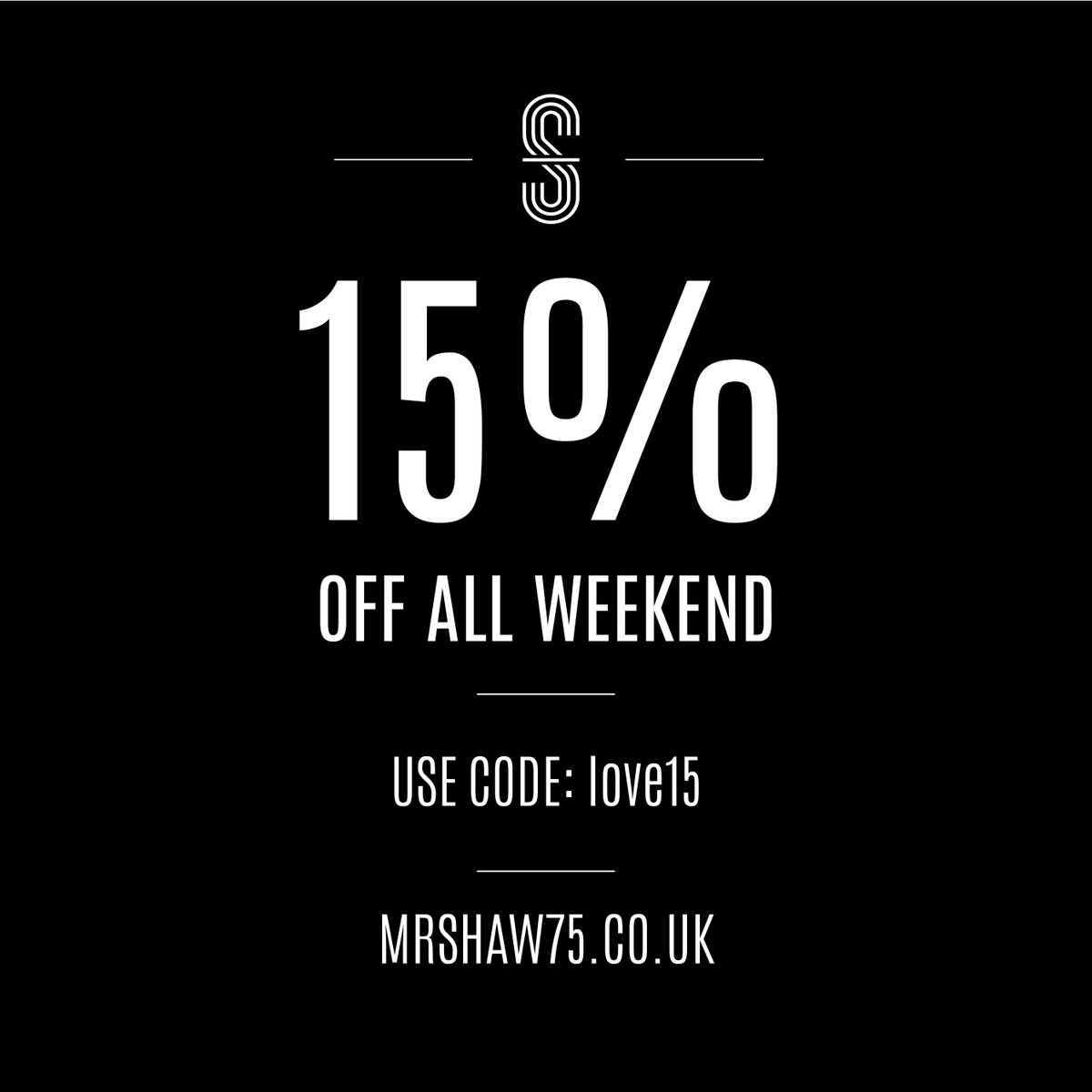 Don't miss out on your last opportunity to get 15% off all our products this weekend! Head to the shop now! >>>> https://mrshaw75.co.uk/shop/  Just use discount code: love15   *Valid until Monday 17th*  #mensfashion #mensclothes #mrshaw #mensstyle #discount #valentinespic.twitter.com/7DxSfmqCfj