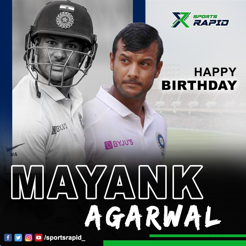 Wishing a very Happy Birthday to dashing India opener Mayank Agarwal!#bcci #karnataka #cricket #testcricket #meninblue #indiancricketteam