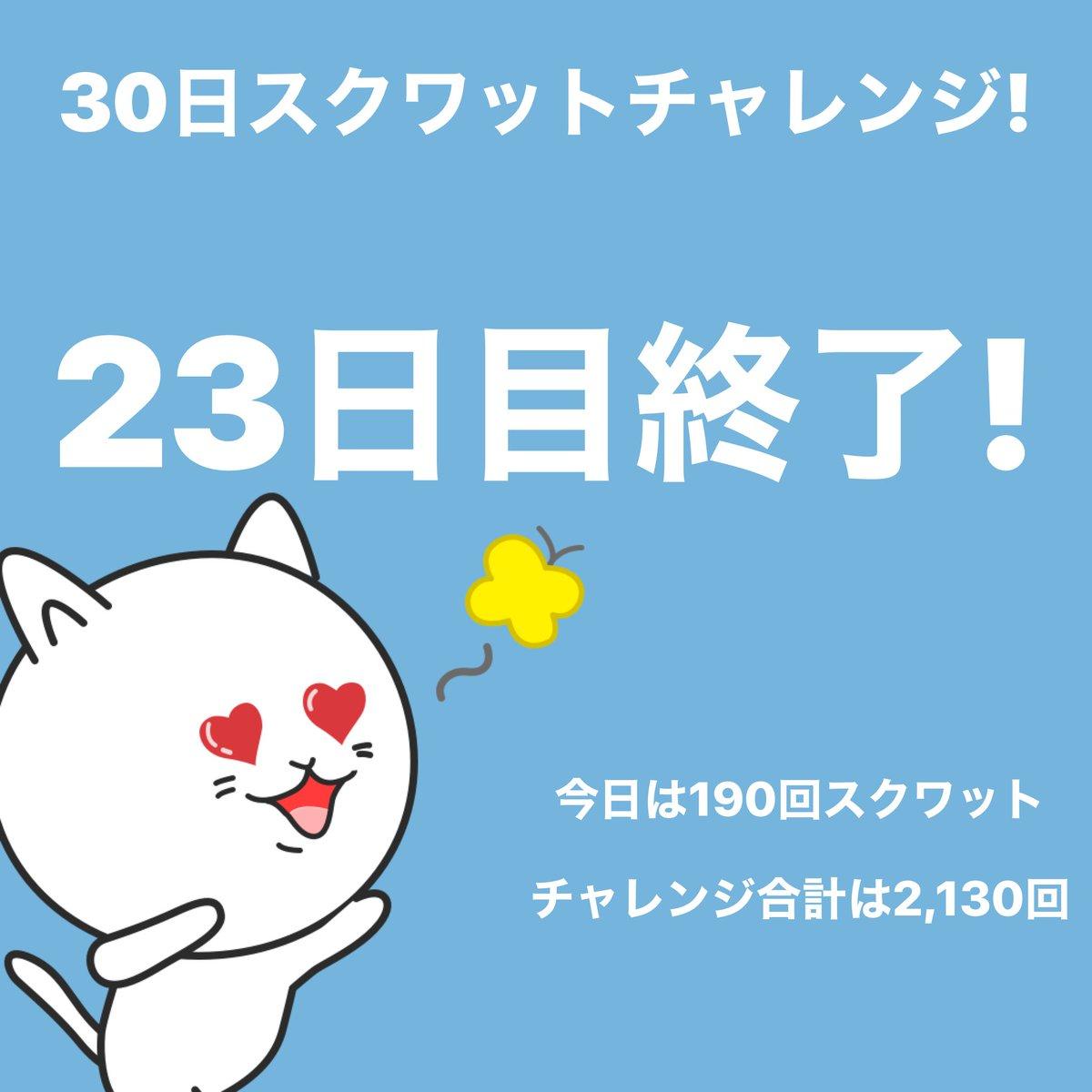 #スクワットチャレンジ 23日目終了!今日は190回スクワットしました。 #30日チャレンジ