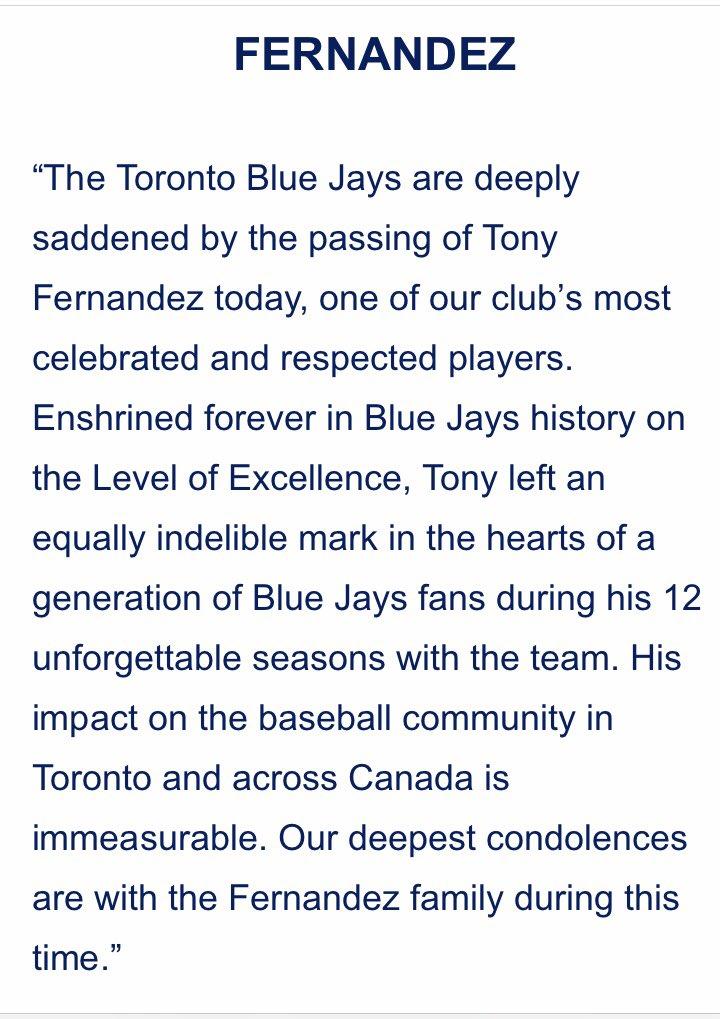 #BlueJaus statement on the late Tony Fernandez