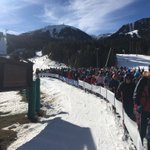 Image for the Tweet beginning: Queue from main ski lift