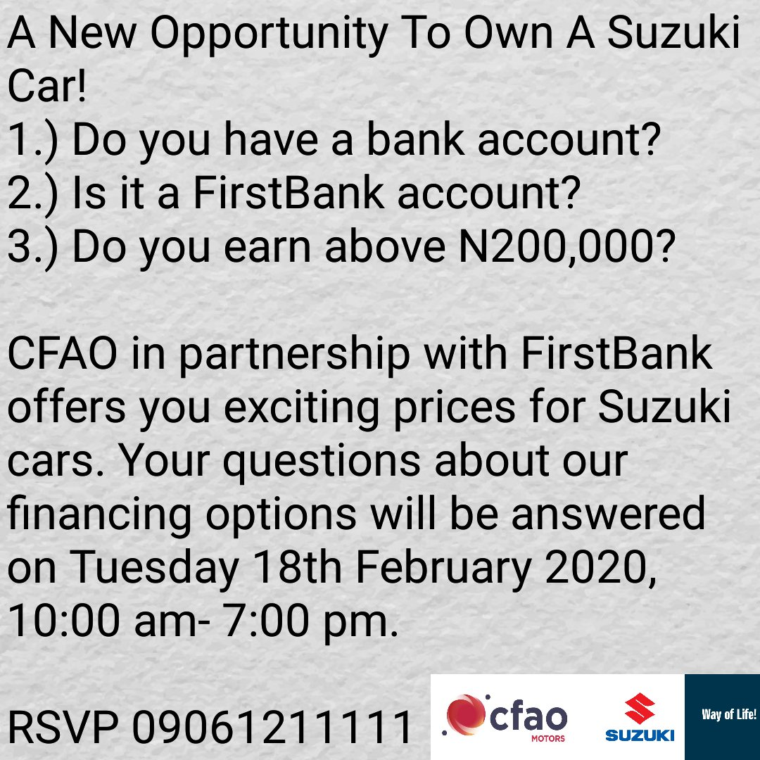 You too can own a brand new Suzuki Car! Meet with us at the FirstBank Open Day. #WayOfLife #auto #FinancingAvailable #SuzukiCars in Nigeria #corporateevents #bank #SuzukiMarketingNigeria #Repostpic.twitter.com/GK260do2Rx