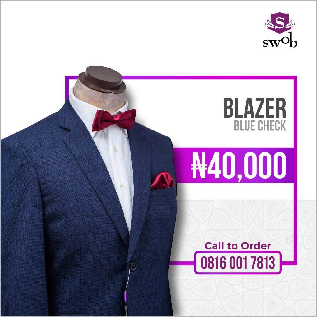 Compliment your corporate or casual look with this cool blazer.  . Give us a call today on 08160017813 or visit our store at Plot 20, CMD Road Magodo, Lagos.  . #swobclothingng #mensclothing #mensfashion #mensclothingstore #maleclothingbrand #suits, #menswear, #style, #menstyle,pic.twitter.com/v3P4daPFZf