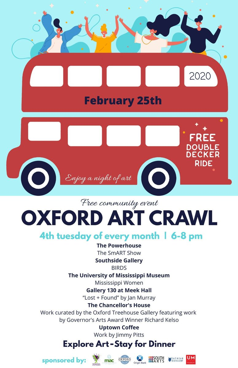 The February Art Crawl will be February 25th - we hope to see you! #artcrawl #freeevent #art #DoubleDeckerbus https://buff.ly/2HnigQ8pic.twitter.com/nkqoCL4pVt
