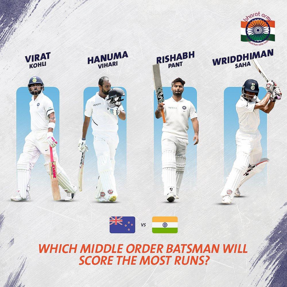 🇮🇳 PREDICTION TIME! Which Indian middle-order batsman will score the most runs against the @BLACKCAPS in the Test series?#NZvIND #NewZealand #viratkohli #hanumavihari #rishabhpant #wriddhimansaha #teamindia #COTI #indiancricketteam #lovecricket #cricket #BharatArmy