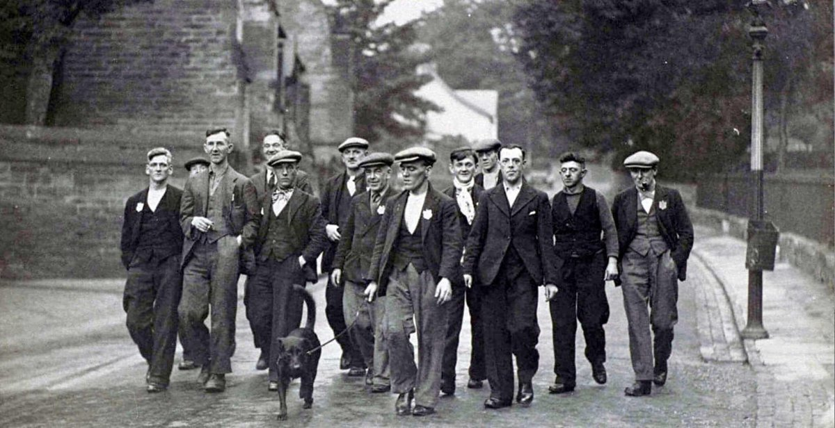 Fantastic photo of men setting off to join the Jarrow March to London in October 1936, a protest against the high unemployment and poverty in Jarrow.  Strength in numbers, we've got to stick together in our communities! #jarrow #protest #unemployment #england #1936 #0161festival
