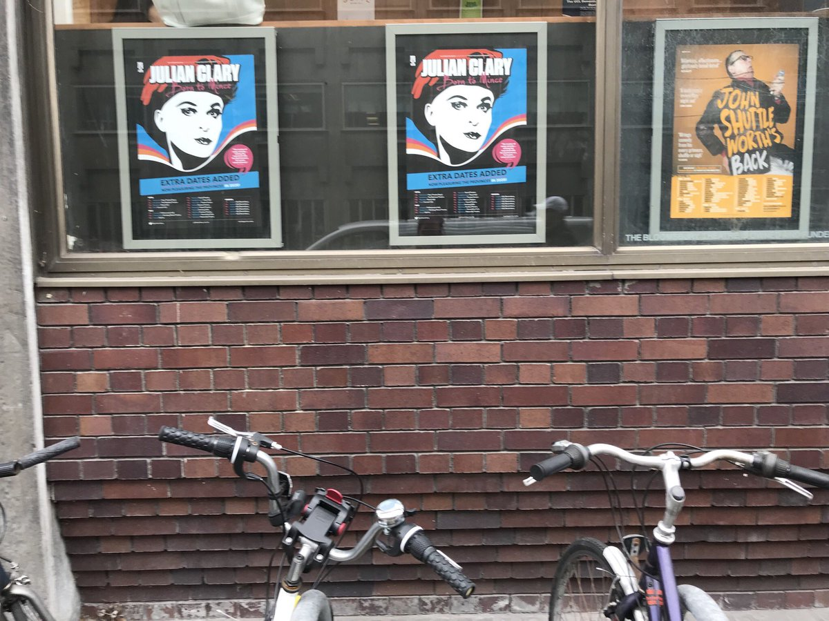 Checking if the new 'Born to Mince' tour flyers are available already I passed by @bloomstheatre. Pleased to see @JulianClary in a prime position in the window there  Excited much woohoo   Tix for the London shows here:  https://www.ucl.ac.uk/culture/whats-on/julian-clary …pic.twitter.com/4P2pEWh9hq