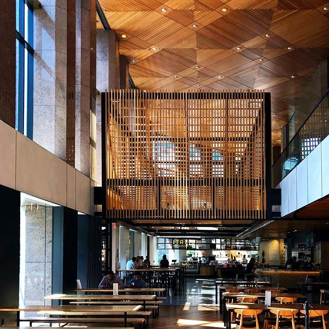 A floating wooden architectural installation is a pretty dramatic canopy leading to the Fareground food hall in downtown Austin. #architecture #interiorarchitecture #foodhall #atxfoodie #austintexas #atxlife #atxtx #slatwall #neutraldecor #interiordesign… http://dlvr.it/RQ7jnbpic.twitter.com/pKu8EO3T34