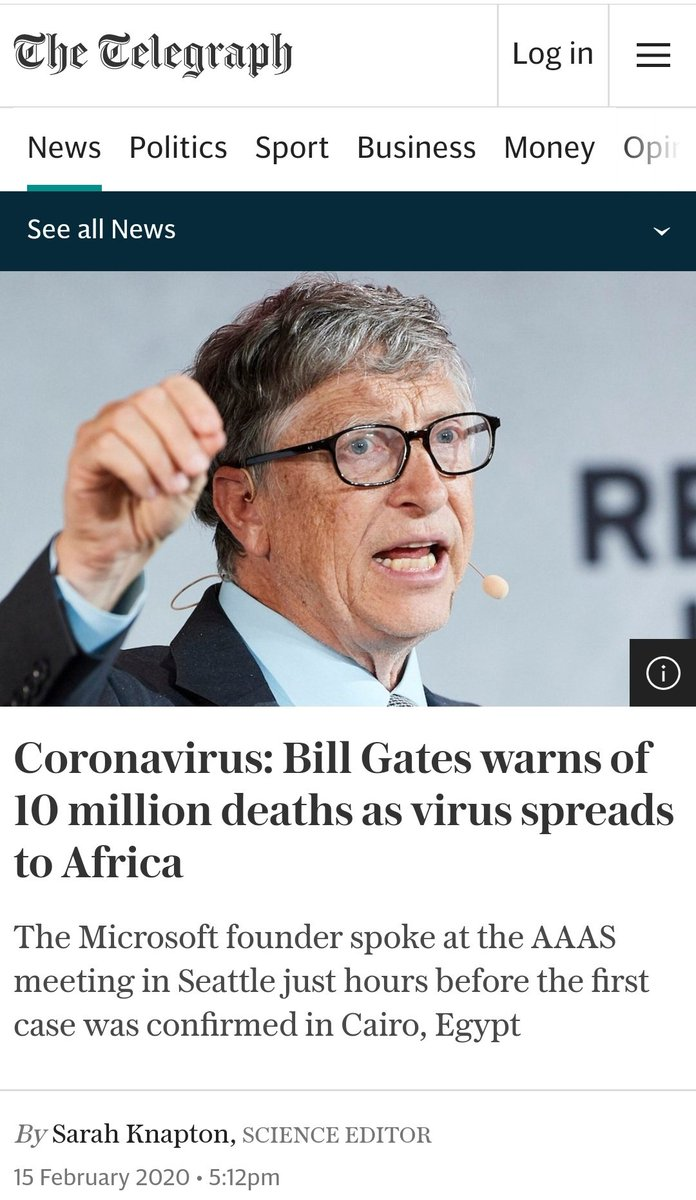 #Coronavirus: #BillGates warns of 10 million deaths as virus spreads to Africa The Microsoft founder spoke at the AAAS meeting in Seattle just hours before the first case was confirmed in Cairo, Egypt #Africa