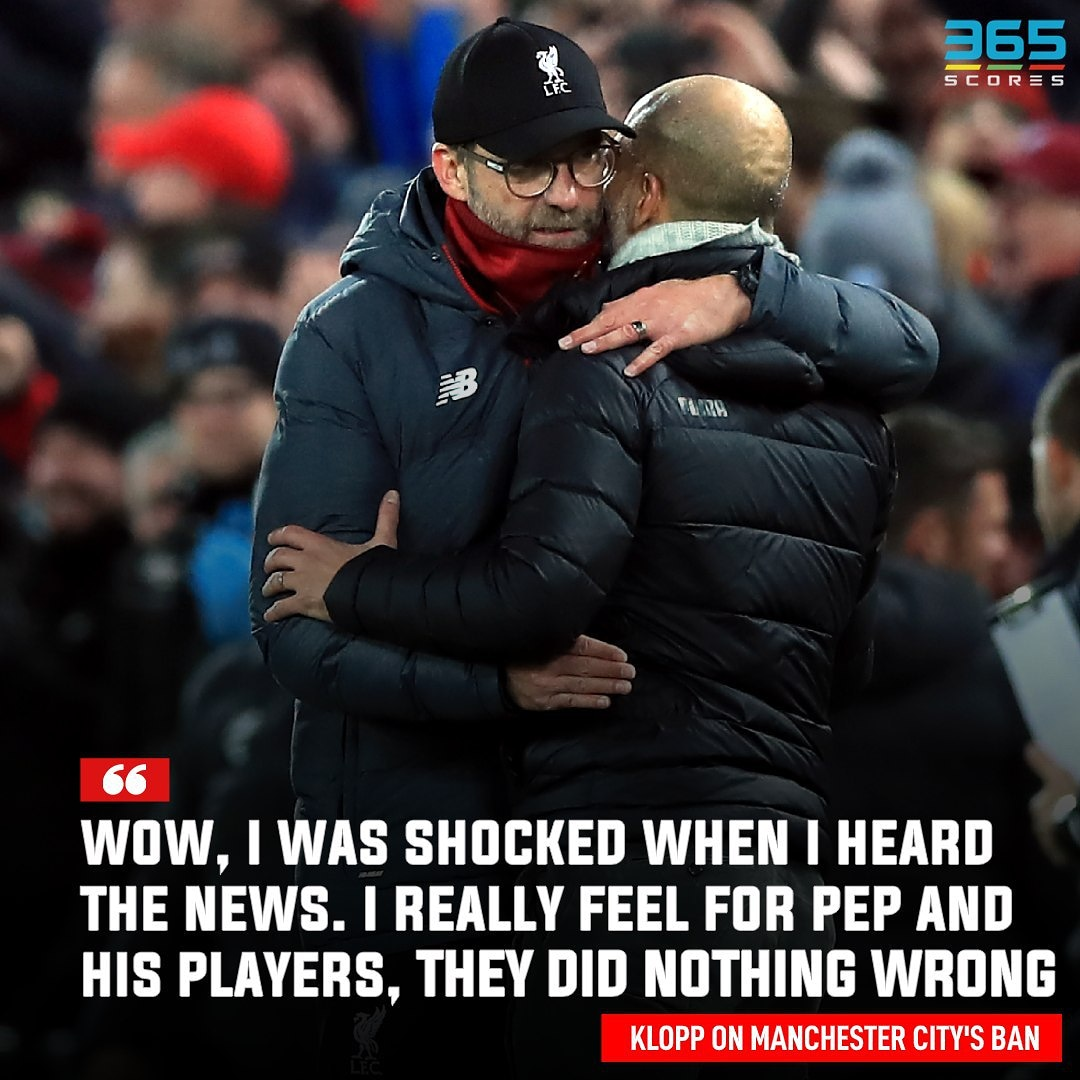 #JurgenKlopp showing sympathy for his #PremierLeague rivals.#ManchesterCity #ManCity #Pep #PepGuardiola #365scores
