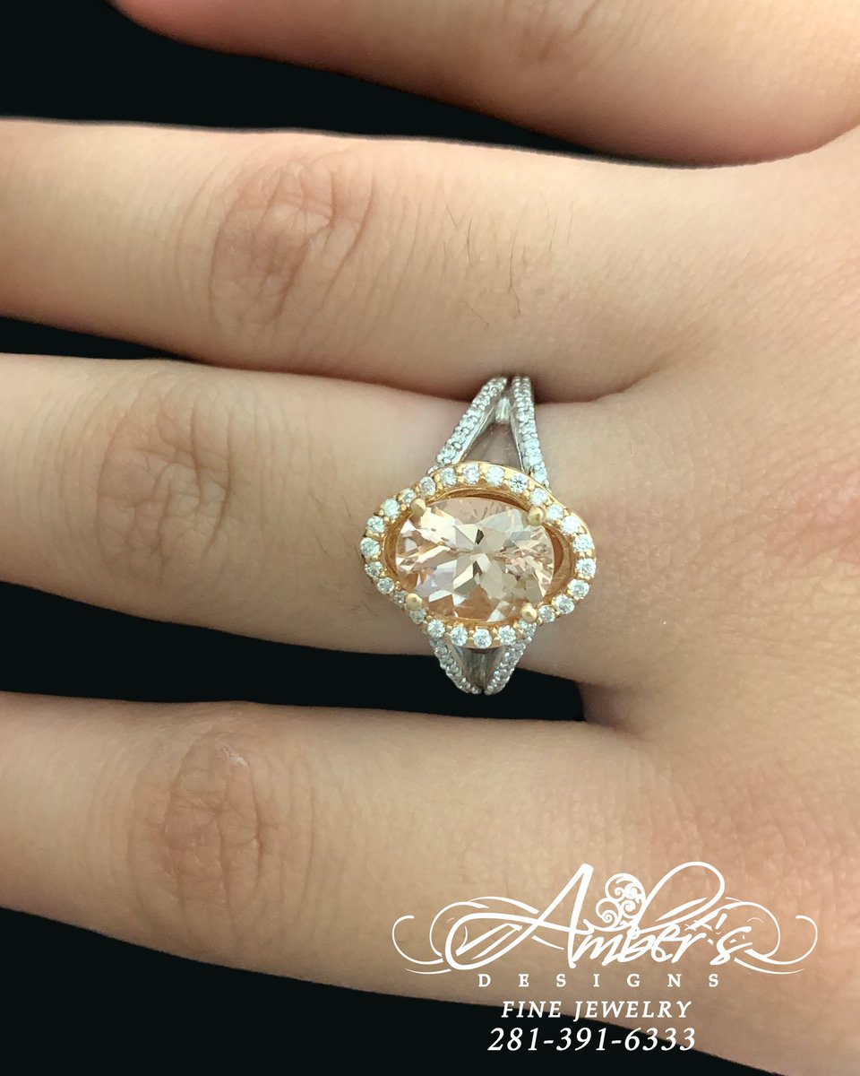 Loving the #WhiteGold and #RoseGold look paired with this #Morganite! This ring is available only here at Amber's Designs! . #katyjewelers #jewelry #jewelrygram #jewelrydesigner #jewelrydesign #jewelryaddict #jewelryoftheday #jewelrylover #jewelryshop #jewelrylovers #jewelrymaker