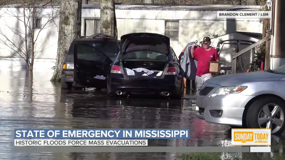 Mississippi is under a state of emergency as floodwaters continue to rise, forcing residents to evacuate. Central Mississippi is on track to reach historic flood levels today and the Pearl River has spilled into streets and swapped homes in Jackson. @ReporterBlayne has more.
