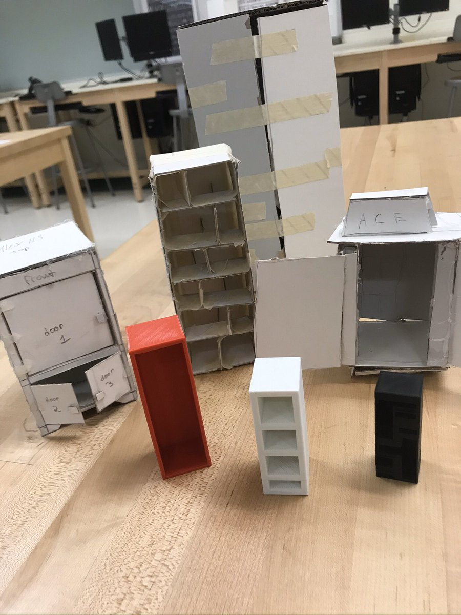Some very cool prototype models of display cabinets designed by our ACE class. #techeducation #design #3dprinting #modelmaking #creativity #technologyeducation pic.twitter.com/ZFm7ZmaQ1K