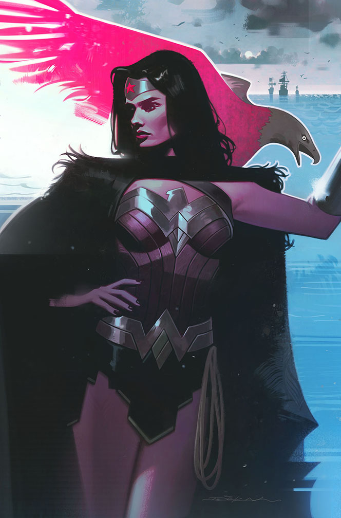My first officially published #WonderWoman cover for DC. It's the variant for issue 758. I had been thinking of drawing a dimly lit, cloaked Diana for a little while. Thanks to my awesome editor for almost always letting me do whatever I want with these variant covers. pic.twitter.com/DrRrpHY82z