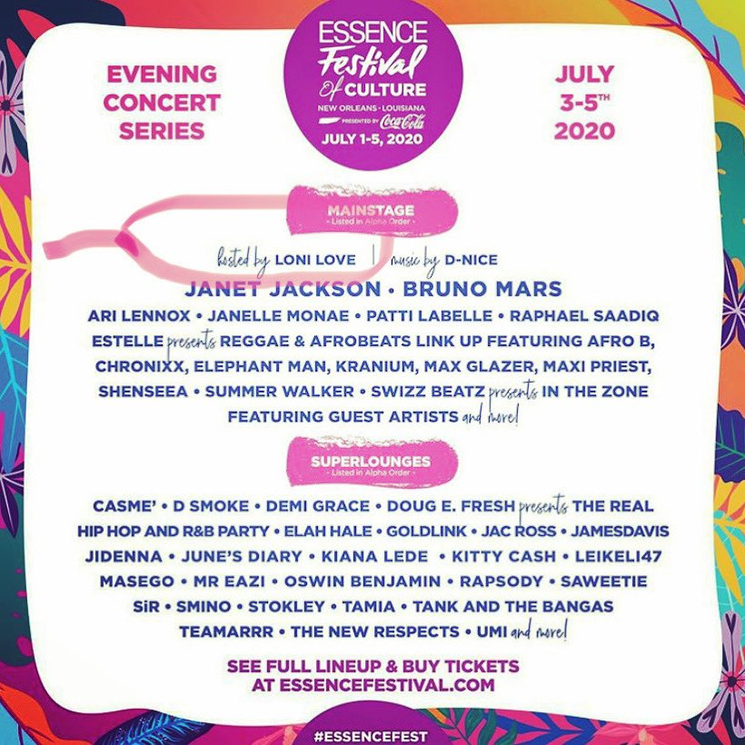 RT @LoniLove: Soo excited to be the #mainstage host for the 2020 @essencefest .. join us!! https://t.co/FLdc12Wi1u