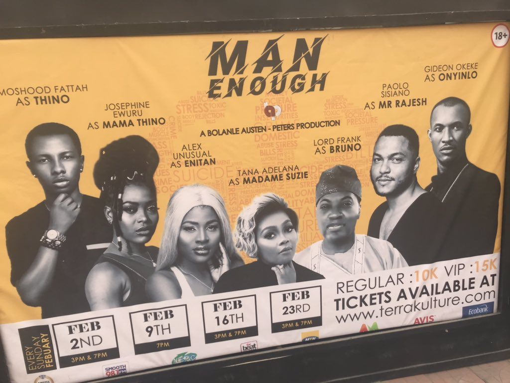 Saw this fantastic show today by the beaut @bolabap @TerraKulture It explores social issues that relate to us all wherever in the world you are..if you're in Lagos go and see it! #manenough pic.twitter.com/npuUl1ytJL