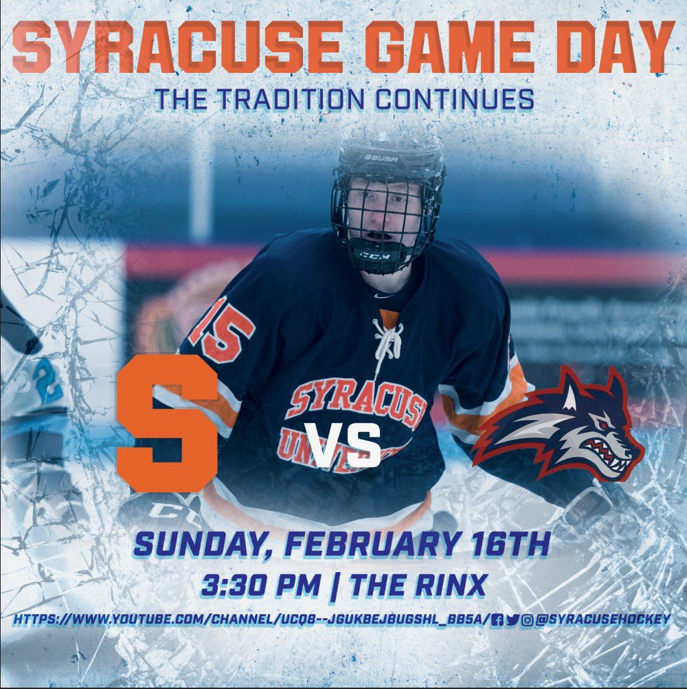 🍊GAME DAY🏒  Syracuse looks to split the weekend agaisnt Stony Brook at 3:30👍🏼!  Learn more about last nights game ↘️ https://www.suhockey.com/post/no-10-stony-brook-trounces-syracuse-8-2-in-saturday-night-duel…  #thetraditioncontinues🍊