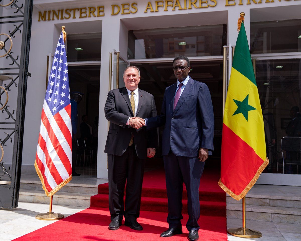 Senegalese Foreign Minister @amadou_ba_ and I had a good discussion on ways to strengthen our robust economic relationship and security cooperation. Looking forward to #Senegal's completion of its second @MCCgov Compact and more opportunities for U.S. companies there.