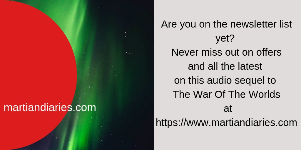 Don't miss out on the latest updates from The Martian Diaries - the exciting audiodrama audiobook trilogy sequel to The War Of The Worlds here http://bit.ly/30d0gPV #HGWells #alieninvasionpic.twitter.com/b8AoSDsYea