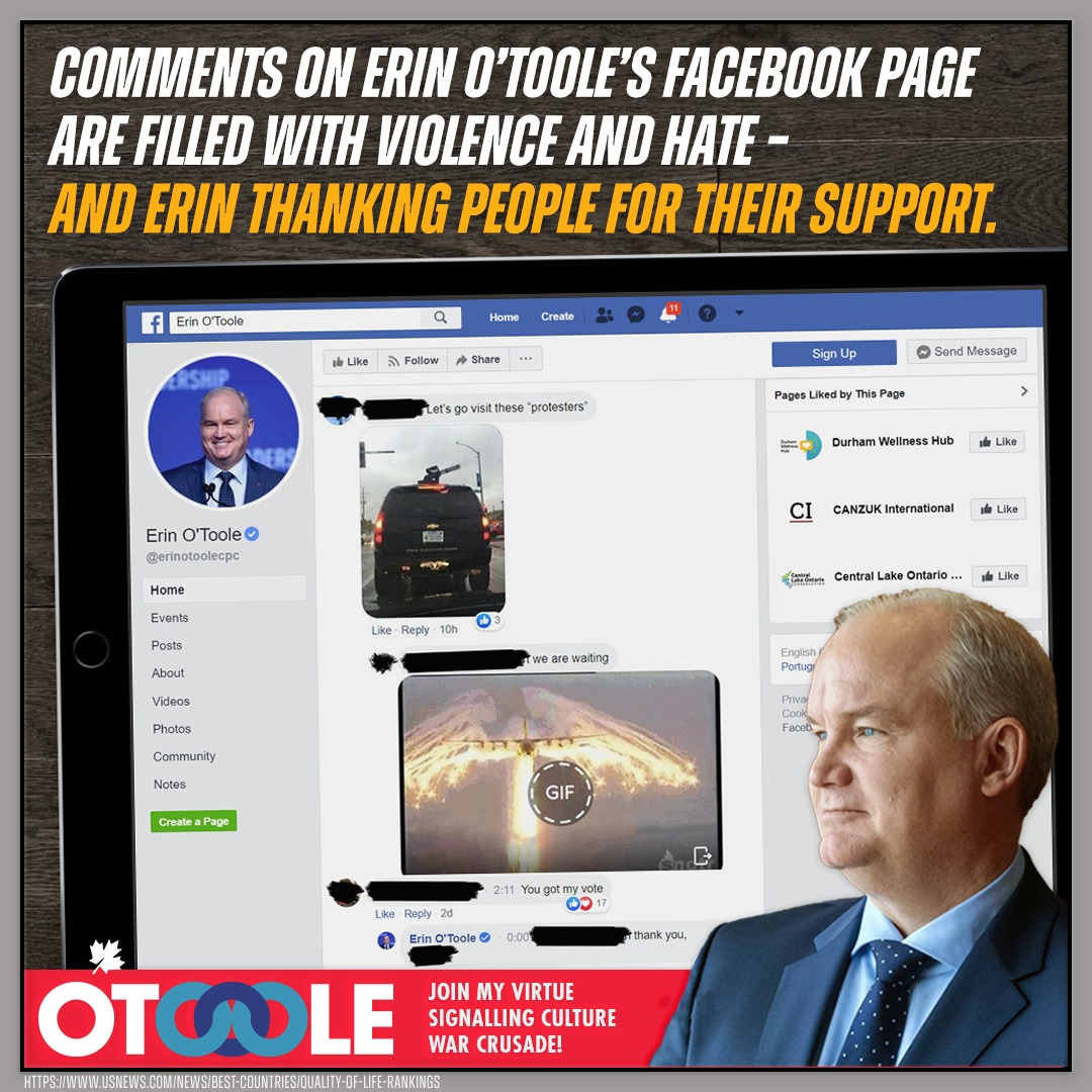 If you can stomach it, go have a look at @ErinOTooleCPC's Facebook page.  There are calls for trains to drive through protestors at 100kph, for example, and everyone really, really hates the PM.  In among the troubling comments, Erin thanks people for their support.  #CPCLdr <br>http://pic.twitter.com/pMwOMUcYex