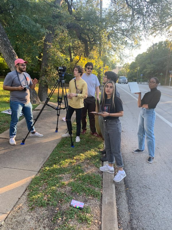 "Great day shooting with Namrata Prakash on set while directing her new short film ""In Bloom""!  #UTRTF #SupportIndieFilm #womendirectors #TexasMoody #HookEm #indiefilm #shortfilm #FilmTwitter #womeninfilm pic.twitter.com/FP8SIV3vav"