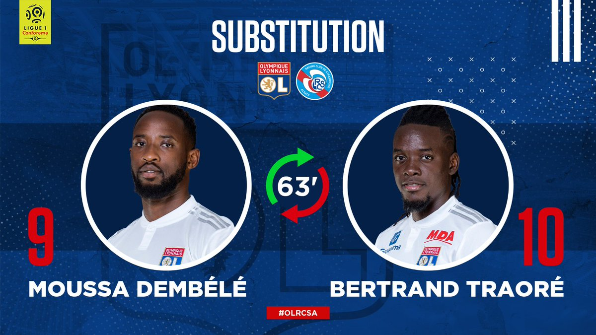 63' A change in attack for #TeamOL - @MDembele_10 is on.  #OLRCSA 1-1