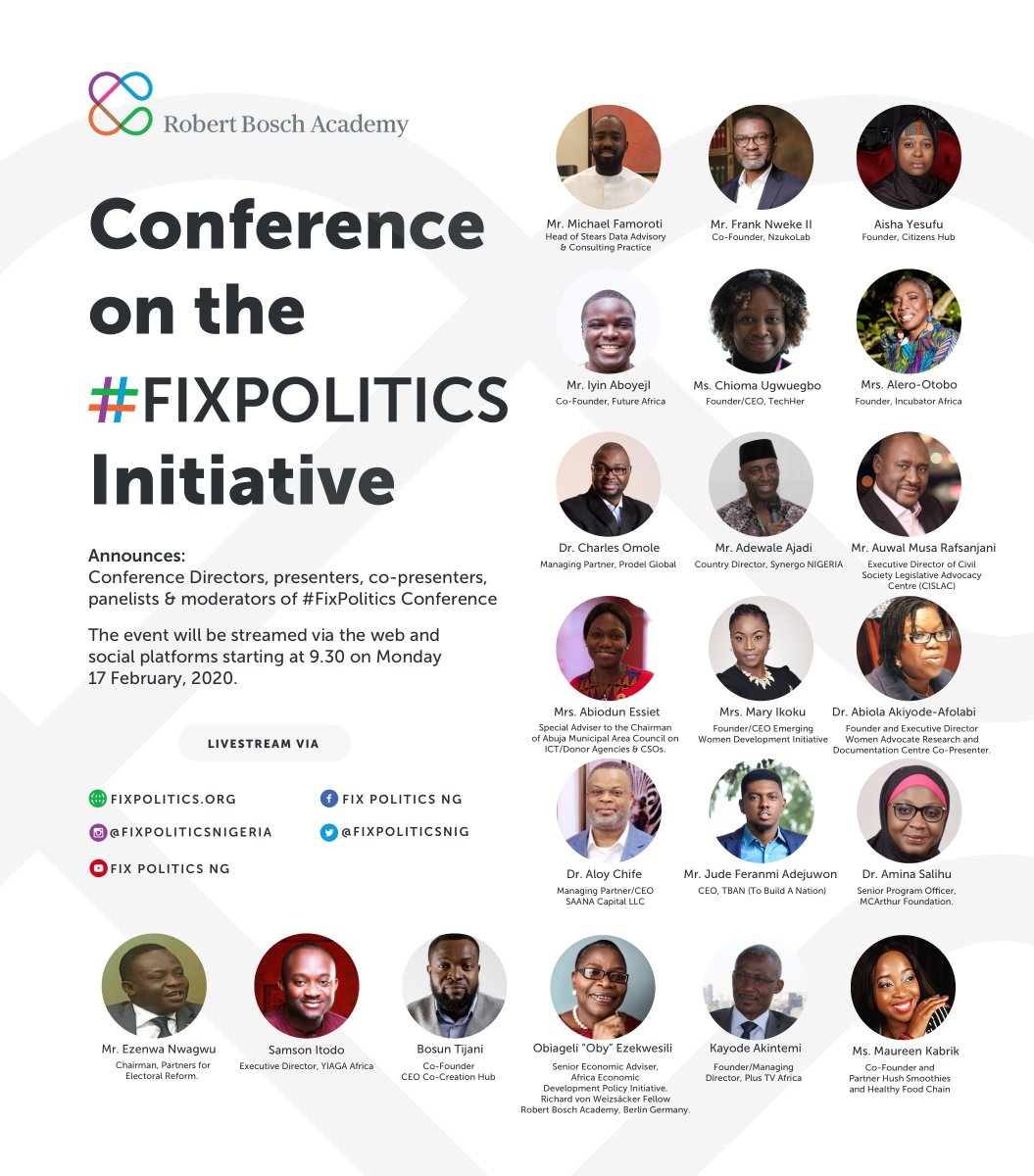Our Conference Director/Compere @KayodeAkintemi will be assisted by @MKabrik .   Tomorrow is a loaded program on #FixPolitics.   I am so looking forward to getting more inspiration for Imagination and Knowledge from all these wonderful people.  #FixPolitics @fixpoliticsnig https://t.co/5ZefneOgCY