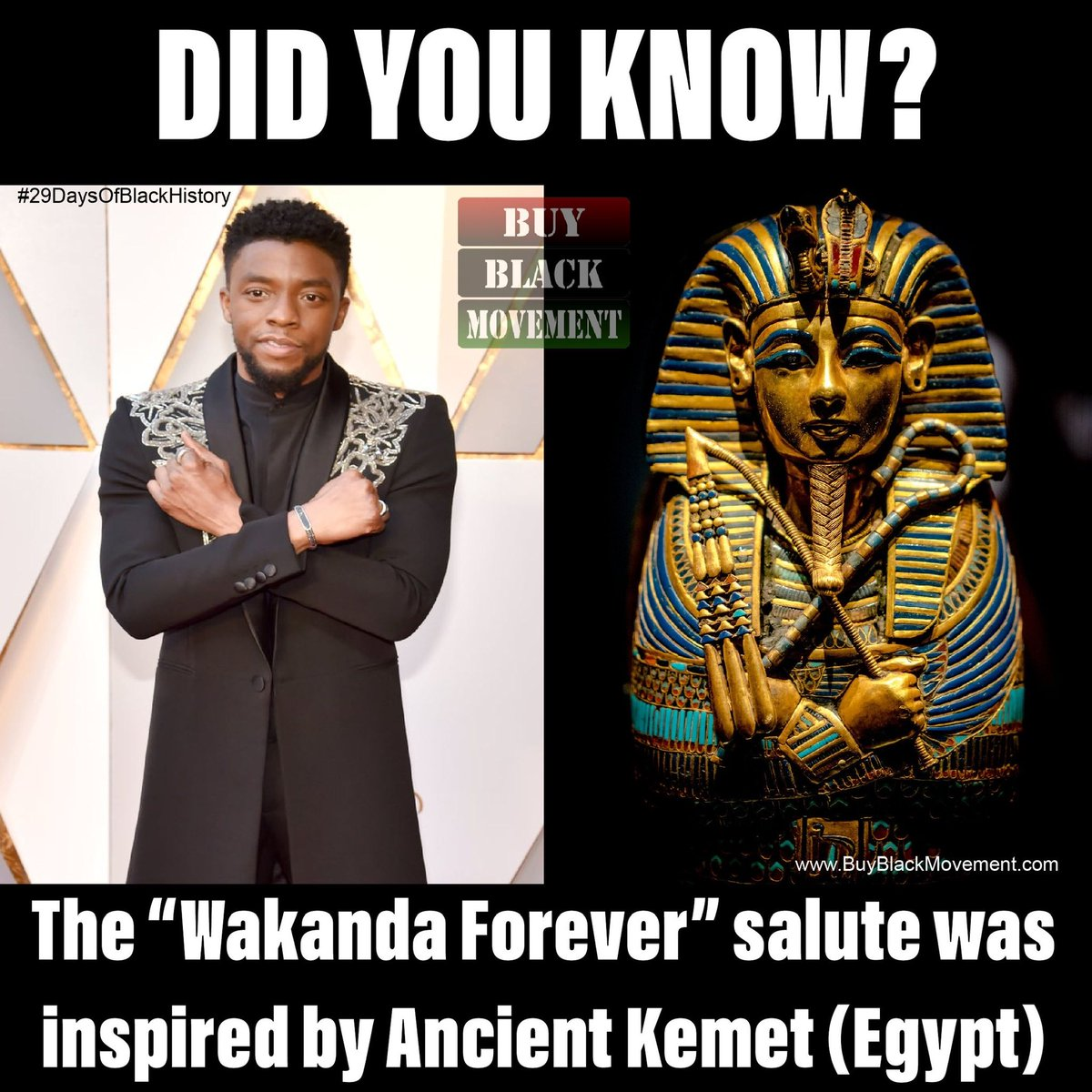 Wakanda Forever!!!!!!  Shop our Black History Sale @ http://www.BuyBlackMovement.com  Keep checking back for new Black history facts every day of February! Use #29DaysOfBlackHistoryBBM to find all of them!  #wakandaforever #buyblack #fortheculture #blackkings #blackpanther #wakandapic.twitter.com/7sx7veELhh
