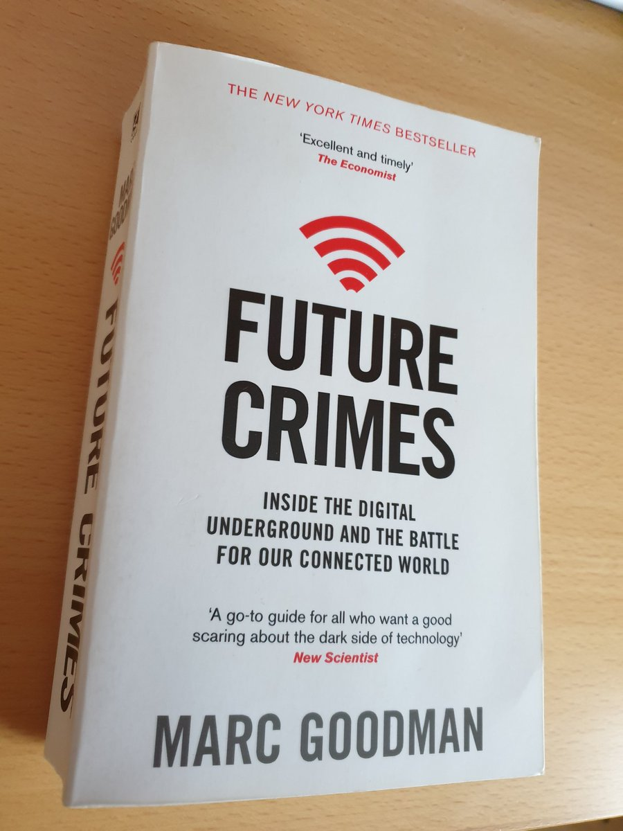 "I finished to read ""Future Crimes"" by Marc Goodman. Fascinating book covering technological advances, cyber crime, cyber security trends and future scenarios #cybersecurity #cybercrime #technologyInnovation #Trends #FutureScenariospic.twitter.com/nhUUCFtlMq"