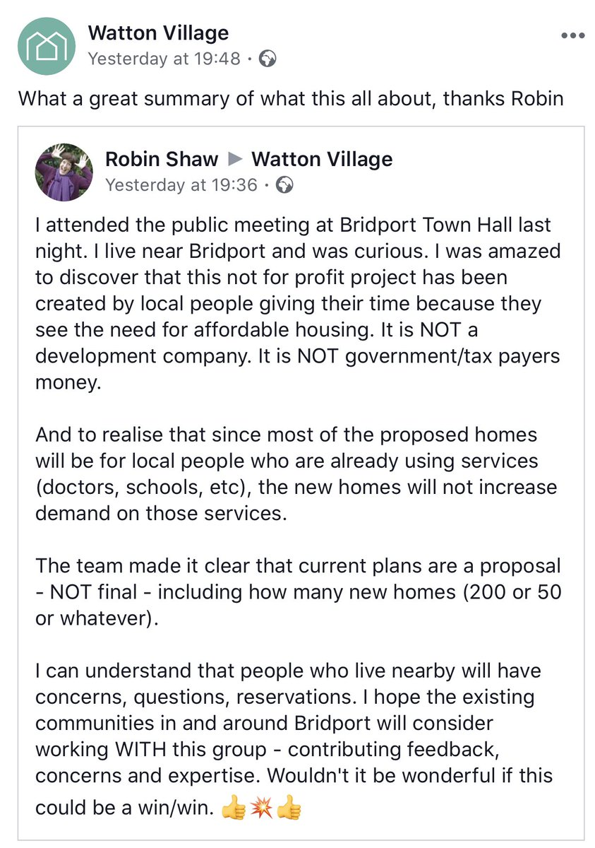 Let's work together to make this project a win / win for the community @bridporttimes @sherbornetimes @thebridportnews #WattonVillage #HousingProject #notforprofit pic.twitter.com/YtQzZpBEtg
