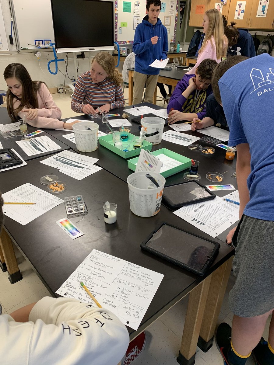 Several mini-labs happening in Science. Testing substances to determine if they acids or bases and proving the law of conservation of matter is true! <a target='_blank' href='http://twitter.com/BoykinBryan'>@BoykinBryan</a> <a target='_blank' href='http://twitter.com/APSscience'>@APSscience</a> <a target='_blank' href='http://twitter.com/wmspta2019'>@wmspta2019</a> <a target='_blank' href='https://t.co/ZSBLfuAu25'>https://t.co/ZSBLfuAu25</a>