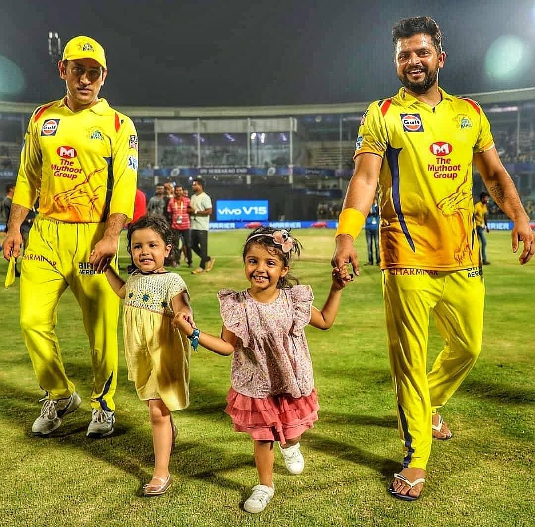 Super Family Pictures!📸@ChennaiIPL @msdhoni @ImRaina @_PriyankaCRaina Most Powerful Team In @IPL 💛💛💛🦁🦁🦁🌻🌻🌻#Yellove #CSK #WhistlePodu @CSKFansOfficial @SakshiRMishra @ImvaishuRaina3 @Raina__soan @Parthiii03 @Raina_Barani @Raina_Vairam @ImVijayPrem3