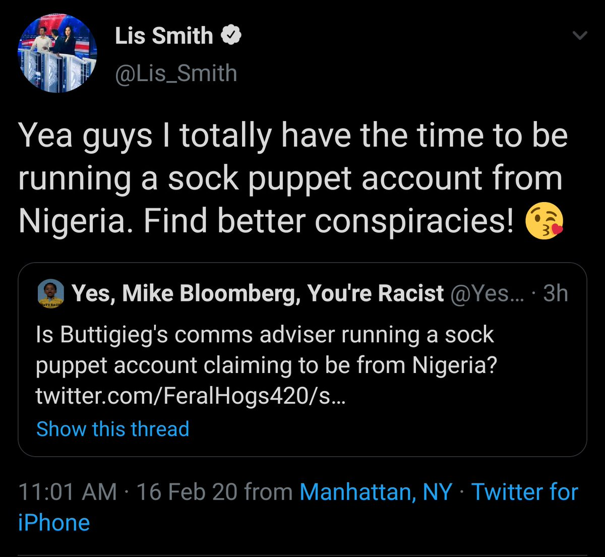 .@lis_smith getting outed for having a sock puppet account (@easychinedu) where she pretends to be a Nigerian Pete Buttigieg supporter is probably my favorite part of the primary thus far.