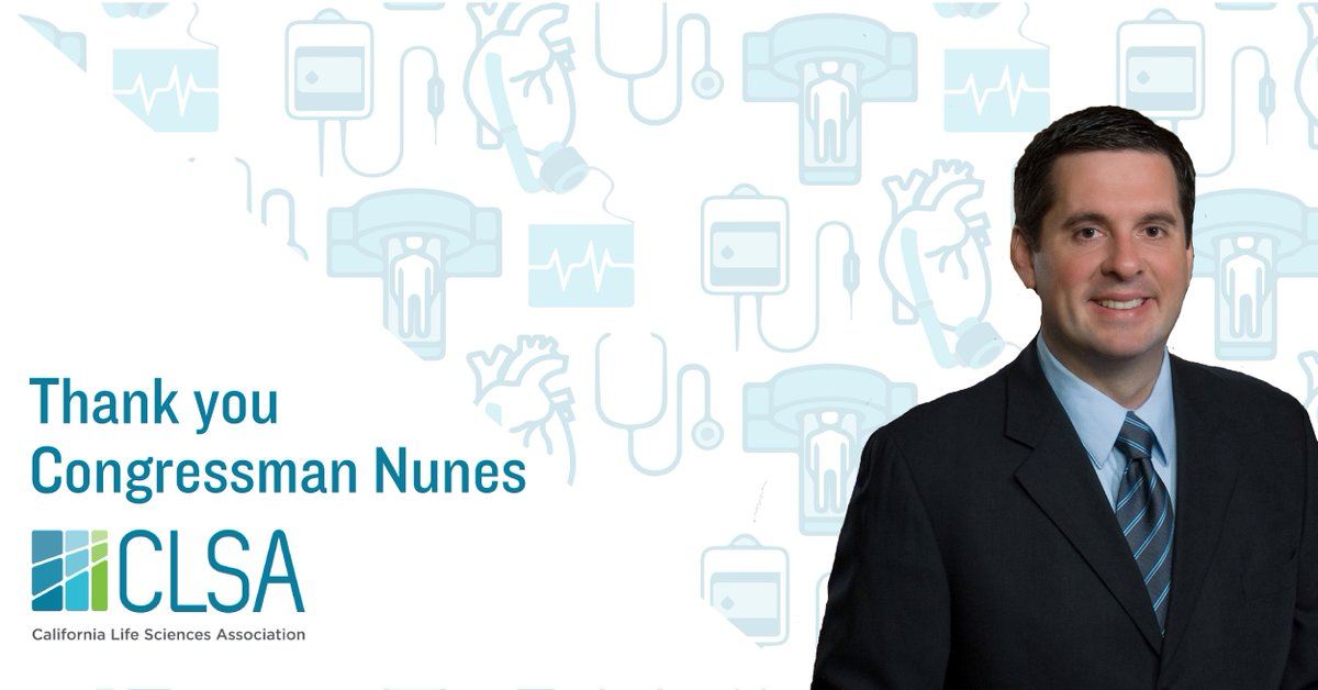 Thanks @RepDevinNunes for your long-standing efforts to #RepealDeviceTax! #California's 1,800+ #medtech companies & 81,000+ employees can now refocus on creating new technologies for patients & bringing more #lifesciences jobs to CA. #MedicalDeviceTax #ProtectMedicalInnovation