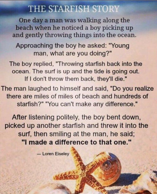 This best sums up my #teaching and #lifephilosophy #TheStarFishStory.pic.twitter.com/n5Pkp3Xygo