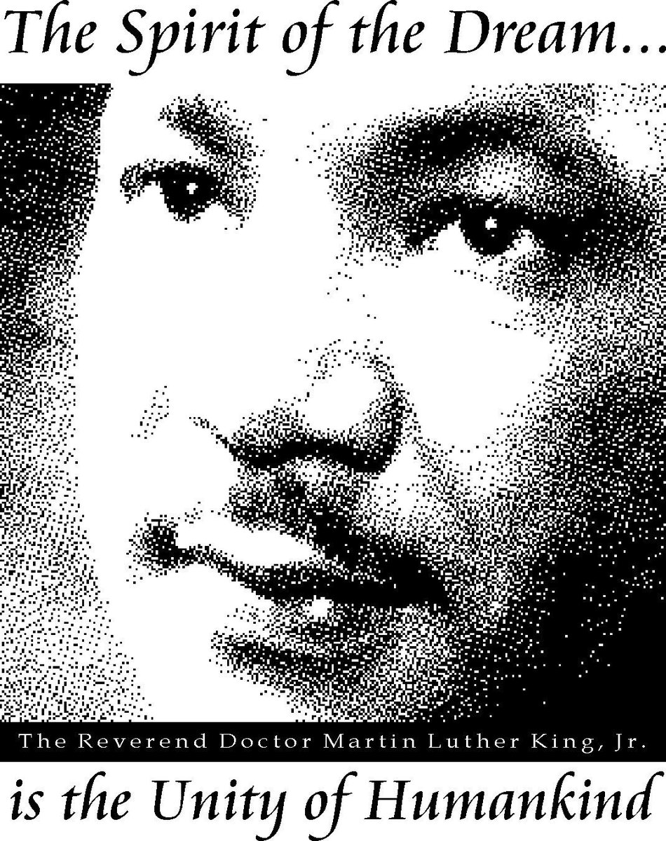 """""""The spirit of the dream is the unity of humankind."""" ~Theme of the Martin Luther King Birthday Celebration Committee of Santa Rosa, California, about 1995. I created this graphic for the Committee from Dr. King's seminary portrait. #MLK  #MLKDAY  #BlackHistory Now in #publicdomain:<br>http://pic.twitter.com/sHRHfMlrax"""