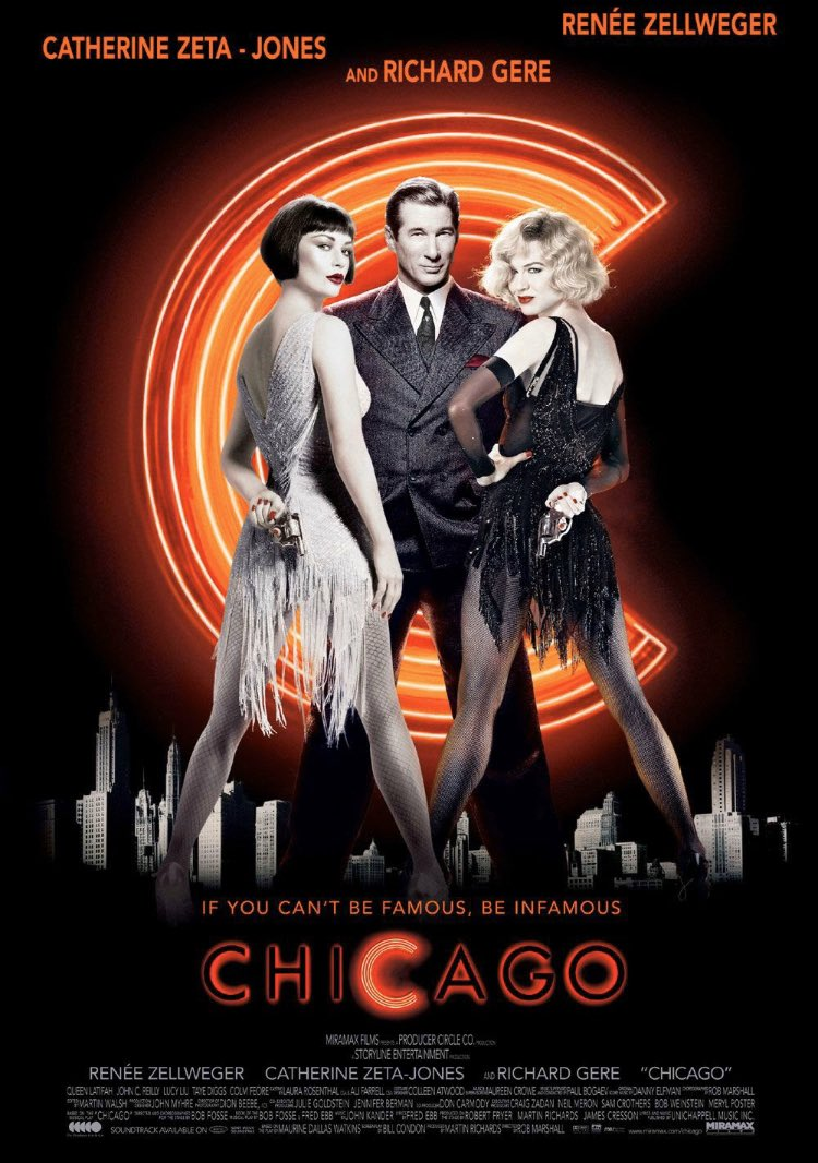 Game cast leans into the murderous musical with much gusto. ~P #10wordmoviereviews #chicago #reneezellweger #catherinezetajones #richardgere #queenlatifah #johncreillypic.twitter.com/3NdJnxRcKu
