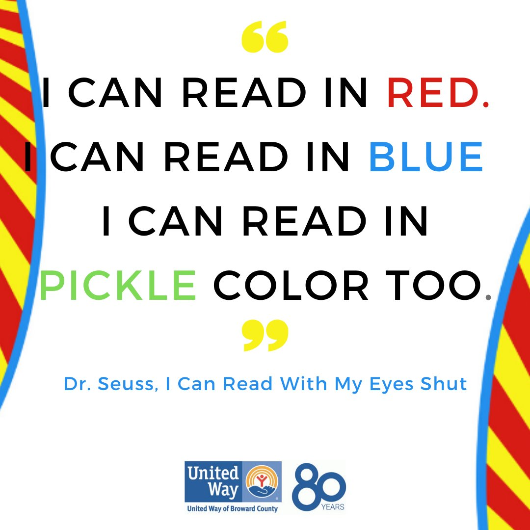 """Calling all women volunteers! Join #WomenUnited as they read the Dr. Seuss classic """"I Can Read With My Eyes Shut"""" to the students at Sunland Park Academy on February 28th. Click the link below to register. #readacrosssouthflorida #LIVEUNITEDBroward  http://ow.ly/4LuO50ykAY3pic.twitter.com/cTSBW50PKw"""