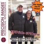 We've got #PIPride! Check out Gus and Mary in their matching #PrecisionImages puffy coats!!! We all love PI so much, many of us sport branded wear, and even branded cars 24/7! #BestJobEver #employeesmatter #PICrew #PrecisionImagesCrew