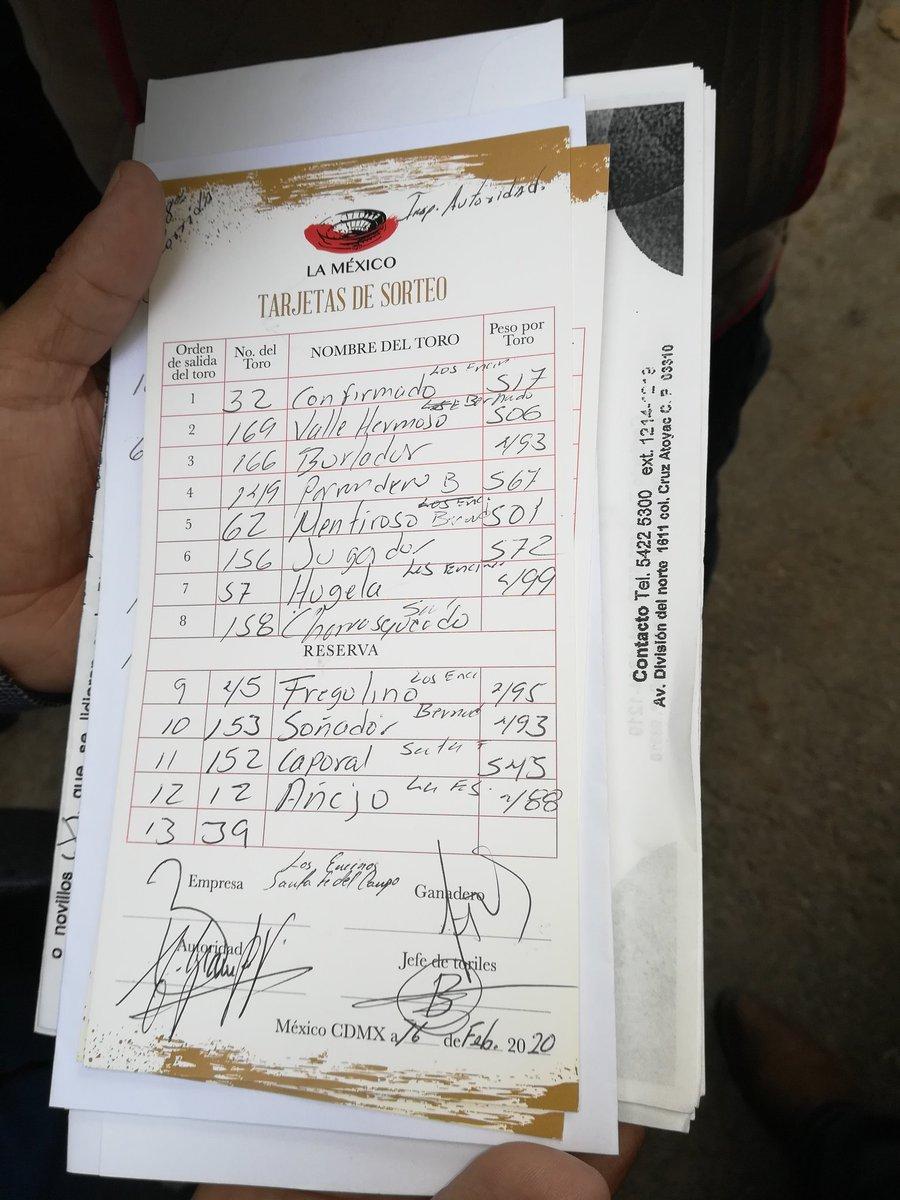Información @Latitud_mx Orden de los toros para la corrida 17 de @LaPlazaMexico del cierre de la temporada.