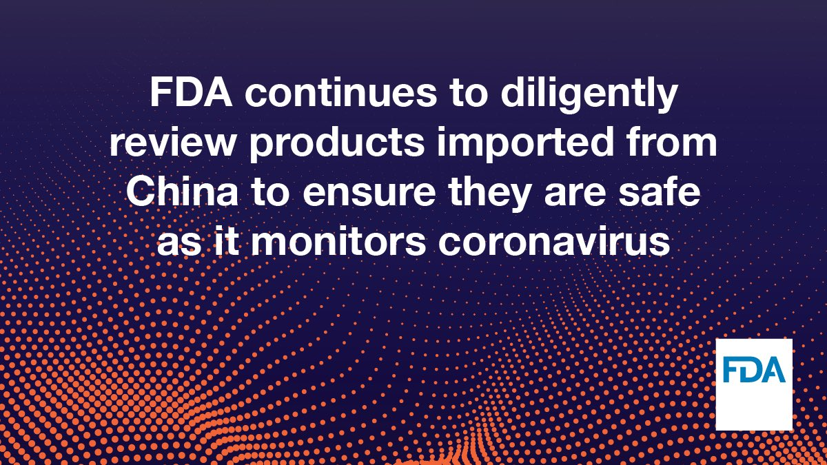"""""""There is no evidence to support transmission of #COVID19 associated with imported goods, including food and drugs for humans and pets, and there have been no reported cases of #coronavirus in the U.S. associated with imported goods."""" – @SteveFDA"""