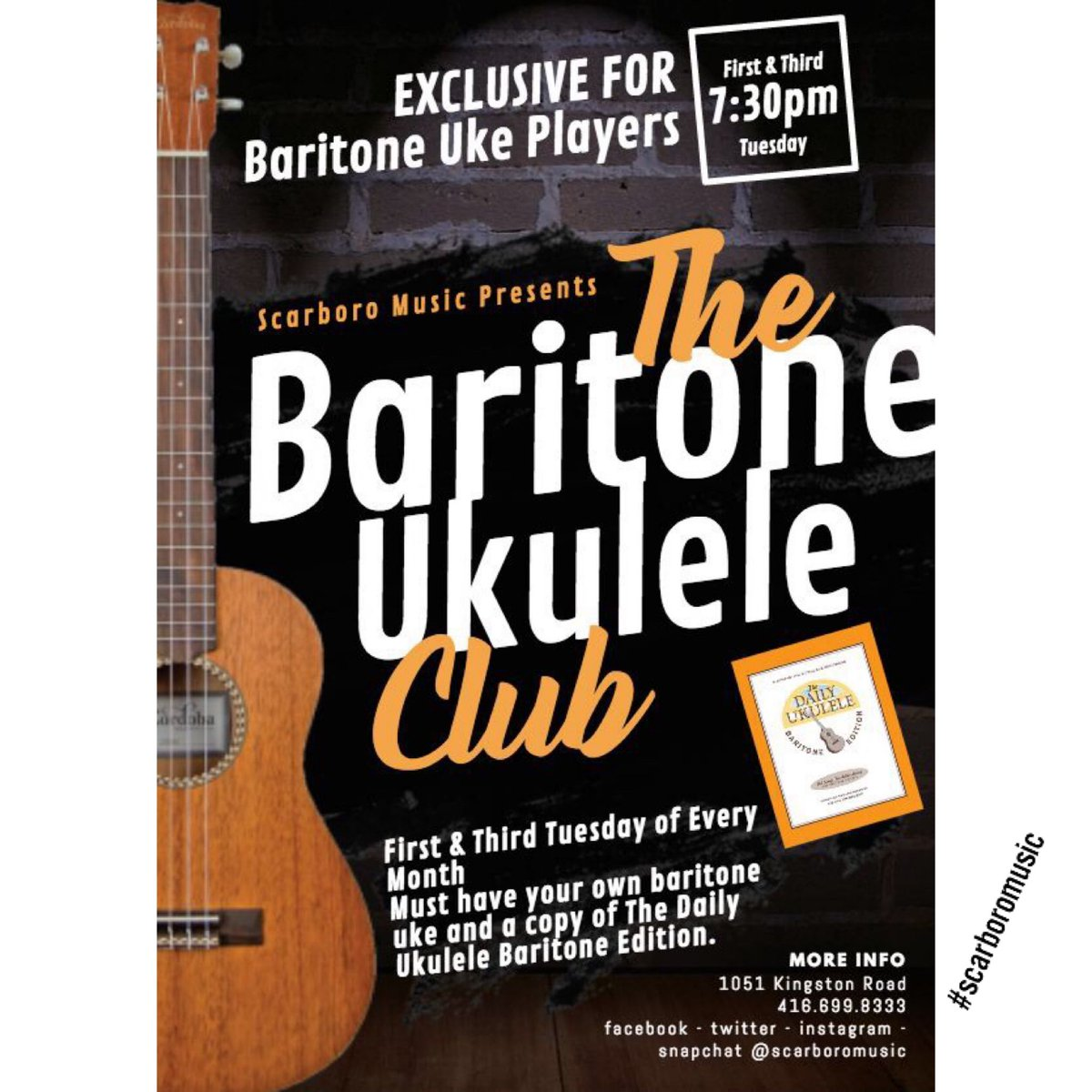 There will be no ukes and lattes jam on Monday! Tuesday - Baritone uke jam at 7:30pm at Scarboro Music - join us for and exclusive baritone only jam! #wearemusic #baritoneuke #baritoneukulele #baritoneukejam<br>http://pic.twitter.com/NtOLTPpAAF