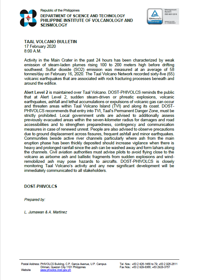 TAAL VOLCANO BULLETIN 17 February 2020 8:00 A.M. #TaalVolcano phivolcs.dost.gov.ph/index.php/taal…