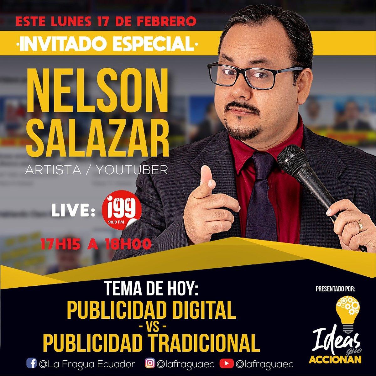 Para este lunes 17 de febrero desde las 17: 15 hasta las 18:00 por @radioi99 tendremos de invitado especial a @hcnelsonsalazar donde hablaremos sobre Publicidad digital vs Publicidad tradicional. #ideasqueaccionan  #ecuador #ecuadorprimero #guayaquil #guayaquileños #millenialspic.twitter.com/nyjQMiXoih