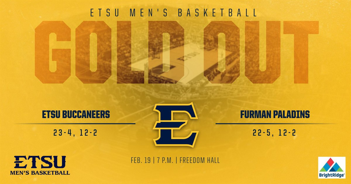 .@ETSUFans, make sure to #FillFreedom Wednesday night  at 7p when we host Furman in a #GoldOut!  Both teams are tied for first place in the SoCon standings at 12-2, while we have won five straight and Furman has won seven in a row   🎟️: https://tinyurl.com/ryl95gv   #ETSUTough
