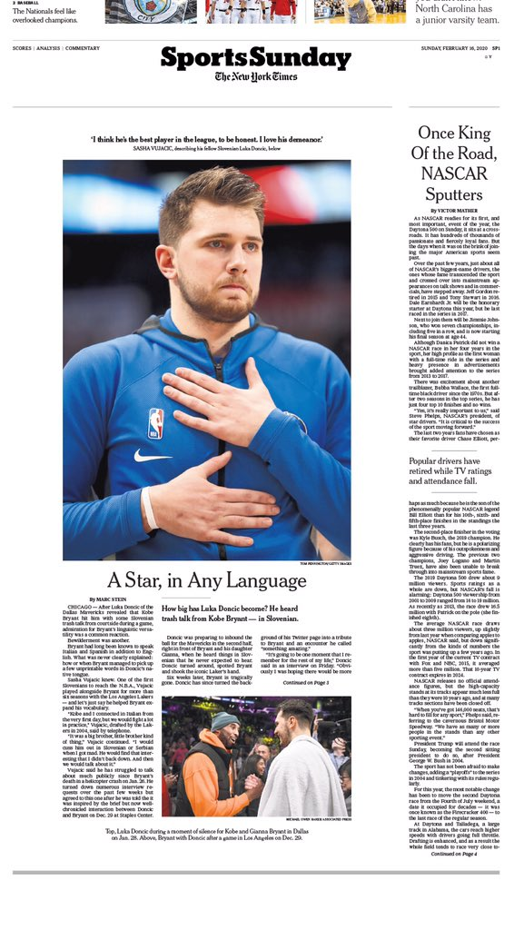And here's how the cover looks in @nytimes SportsSunday print form as assembled by the incomparable @zagatam ...