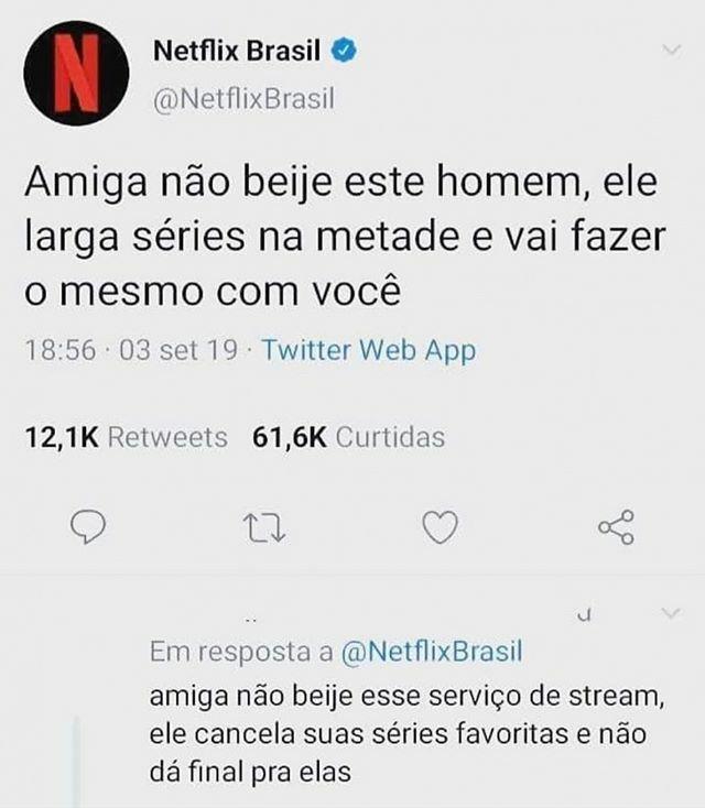Quem fala o que quer, pode ouvir o que não quer  • #coxinhanerd #netflix #netflixbrasil #dicasnetflix #seriesnetflix #filmesnetflix #seriescanceladaspic.twitter.com/5Rqxwmp21x