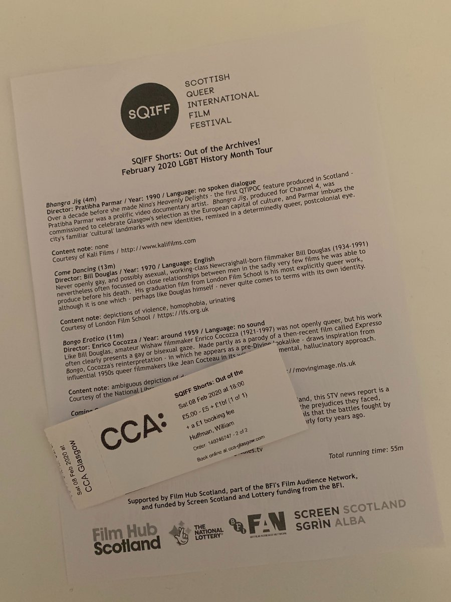 Last week attended the screening #OutoftheArchive presented by @ScotsQueerFilm really interesting programme and quite lively Q&A after thanks to @CCA_Glasgow for hosting along with @BFI, @filmhubscotland & #ScreenScotland http://www.sqiff.org/event/out-of-the-archives-tour… ...pic.twitter.com/o2MvnMJW6P